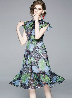Stylish Chiffon Print Bowknot Gathered Waist Sheath Dress