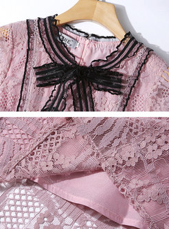 O-neck Bowknot Lace Splicing Hollow Out Skater Dress