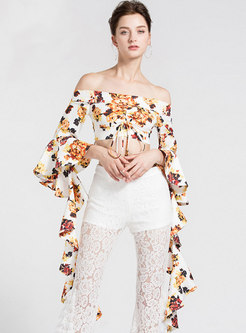 Off Shoulder Flare Sleeve Print Crop Blouse