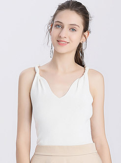 V-neck All-matched Pure Color Knitted Cami