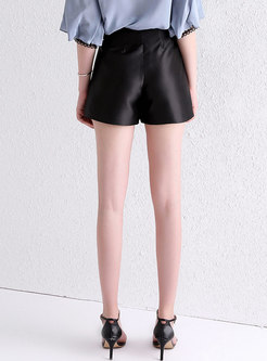 Brief Letter Print High Waist Wide Leg Shorts