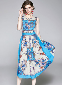 Blue Crew Neck Sleeveless Print Pleated Dress