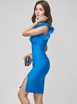 Sexy V-neck Ruffle Sleeve Split Bodycon Dress