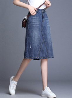 High Waist Denim All-matched Slim A Line Skirt