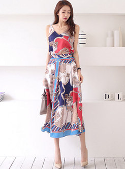Chic Print Backless Top & Big Hem Print Skirt