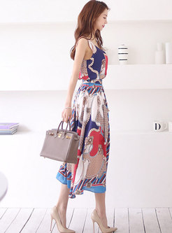 V-neck Print Sleeveless A Line Suit Dress