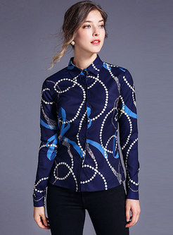 Lapel Print All-matched Single-breasted Blouse