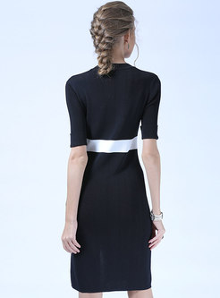 Stylish Color-blocked Gathered Waist Knitted Dress