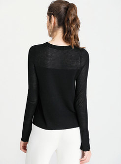 Solid Color All-matched Split Thin Sweater