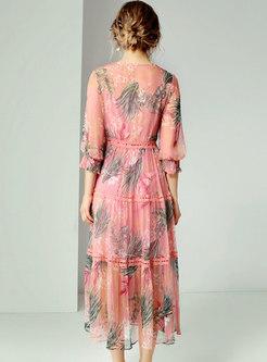 V-neck Print Lace Splicing High Waist Skater Dress