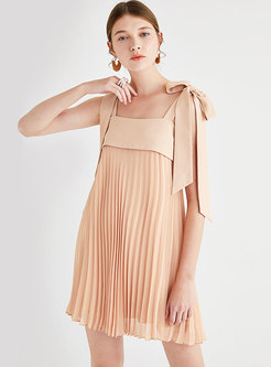 Pure Color Square Neck Tied Backless Pleated Mini Dress