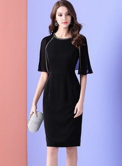 Elegant Beaded Gathered Waist Cloak Bodycon Dress