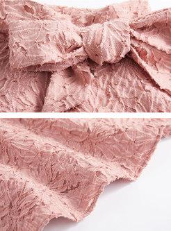 Jacquard High Waist Bowknot Pink Cute Mini Skirt