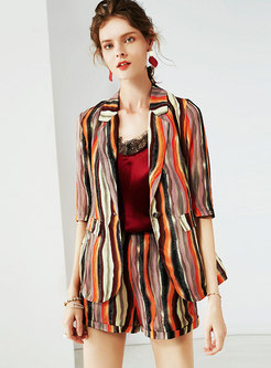 Chic Multi-color Striped Silk Two-piece Outfits