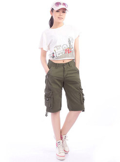Solid Color Women's Multi-pocket Loose Cargo Pants