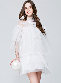 Sweet Mesh See-though Bowknot High Waist Cake Dress
