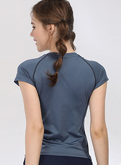 Pure Color V-neck Quick-drying Slim Top