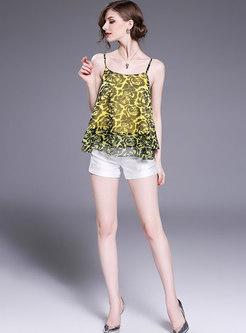 Fashion Backless Silk Print Loose Cami