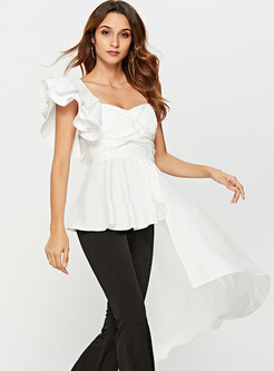 Chic Pure Color Asymmetric Off Shoulder Sleeveless Top