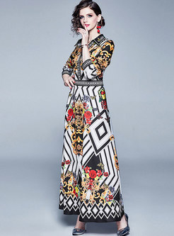 V-neck Multi-color Print Retro Maxi Dress