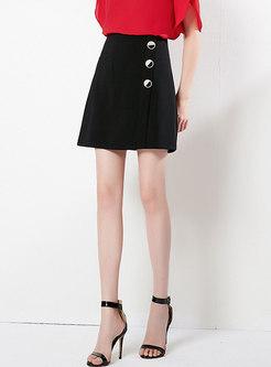 Brief Black High Waist Button Slim A Line Skirt