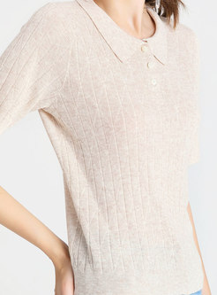 Brief Beige Polo Collar Comfortable Knitted Top