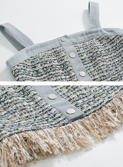 Chic Denim Blue Tassel Off Shoulder Single-breasted Cami
