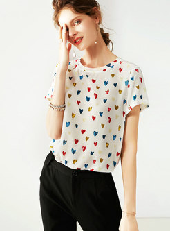 Brief Heart Pattern O-neck Loose Silk T-shirt