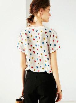 Brief Heart Pattern O-neck Loose Silk T-shirt