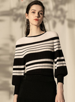 Color-blocked O-neck Striped Lantern Sleeve Sweater