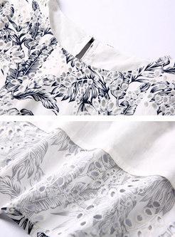 Trendy Print Splicing Hollow Out Big Hem Skater Dress