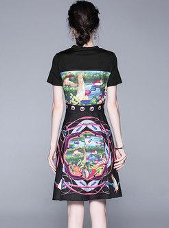 Crew Neck Print Gathered Waist A Line Dress