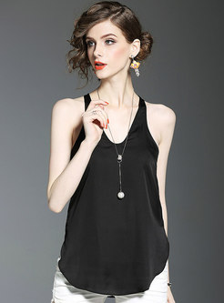 Summer All-matched Silk Solid Color Comfortable Tank