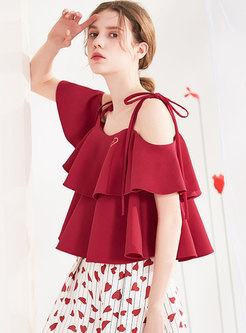 Sweet Pure Color Backless Tied Loose Top
