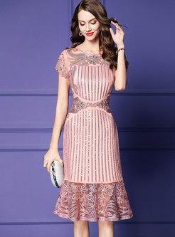 Elegant Sequined Embroidered Falbala High Waist Sheath Dress