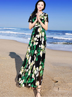 Casual Print Big Hem Chiffon Slim Beach Maxi Dress