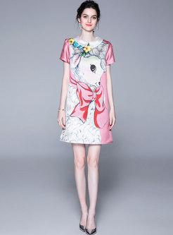 Summer Cartoon Print Sweet Short Sleeve Shift Dress