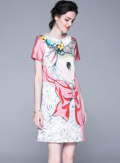 Summer Cartoon Print Sweet Short Sleeve Shift Dress