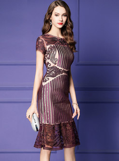 Hollow Out Splicing Embroidered Mermaid Bodycon Dress