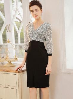 Elegant V-neck Mesh Splicing Work Bodycon Dress