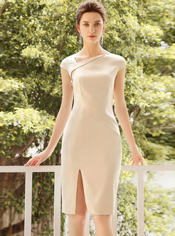 Sexy Pure Color V-neck Split Bodycon Dress