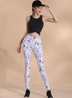 Mesh Splicing Print Breathable Yoga Pants