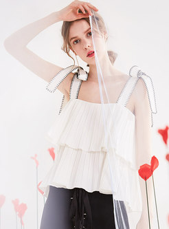 Chic Falbala Hem Pleated Tied Loose Cami