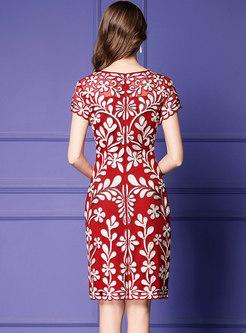 Fashion Embroidered Gathered Waist Slim Sheath Dress