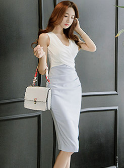 Sexy V-neck Sleeveless Splicing Bodycon Dress
