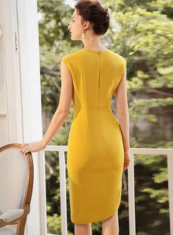 Trendy Nail drill High Waist Irregular Slim Sheath Dress