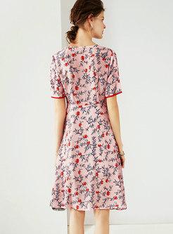 V-neck Print Falbala Half Sleeve Irregular Skater Dress