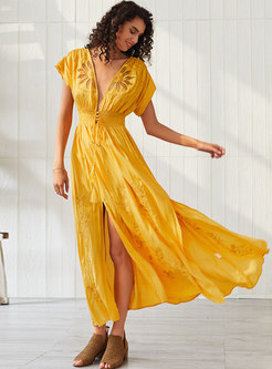 Bohemian V-neck Embroidered Split Maxi Dress