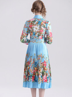 Stylish Lapel Print Pleated Gathered Waist Skater Dress