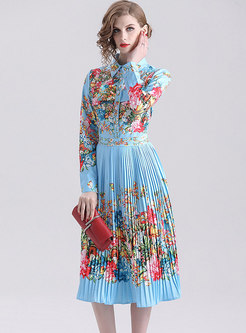 Stylish Lapel Print Pleated Gathered Waist Skater Dress